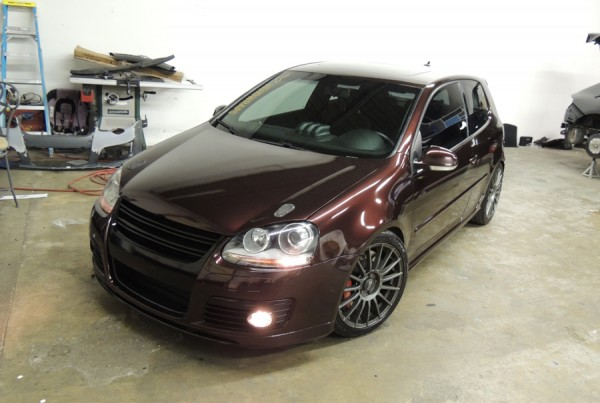 Volkswagen Golf GTI Gloss Black Rose Vinyl Wrap