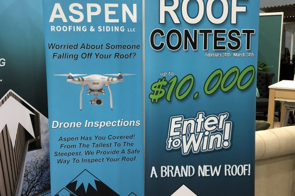 aspen roofing standup signs